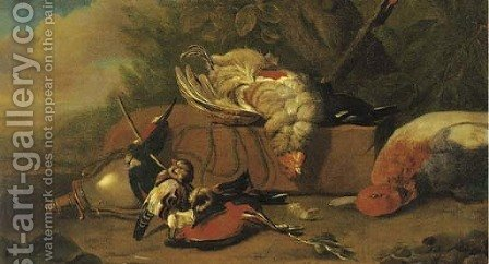Dead game birds near a powder flask in a wooded clearing by (after) Jan Weenix - Reproduction Oil Painting
