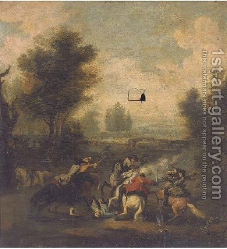 A cavalry skirmish by (after) Jan Wyck - Reproduction Oil Painting