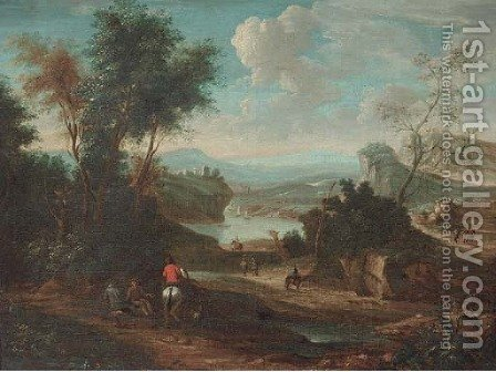 A landscape with horsemen and other travellers on a track by (after) Jan Wyck - Reproduction Oil Painting