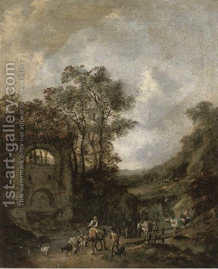 A river landscape with shepherds and their flock crossing a bridge to a fountain by (after) Jan Wynants - Reproduction Oil Painting