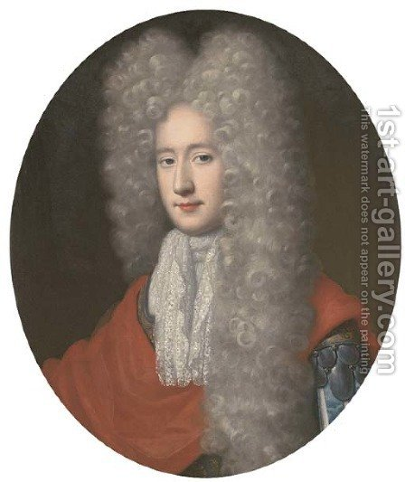 Portrait of a gentleman, bust-length, wearing an armoured tunic, red wrap and long wig by (after) Jean Baptiste Van Loo - Reproduction Oil Painting