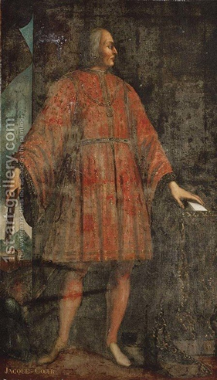 Portrait of Jacques Coeur (Bourges c. 1395-1461 Chios), standing full-length in an interior, wearing a red fleur-de-lys embroidered costume by (after) Fouquet, Jean - Reproduction Oil Painting