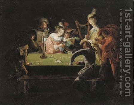 Elegant company gambling in an interior by (after) Jean Achille Leclerc - Reproduction Oil Painting