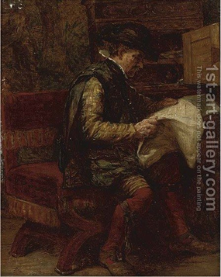 The latest news by (after) Meissonier, Jean-Louis Ernest - Reproduction Oil Painting