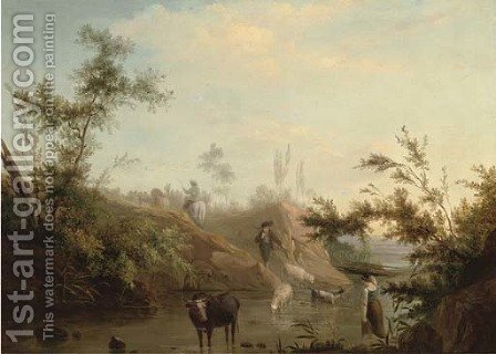 A river landscape with a drover, his cattle and a shepherd and his flock by (after) Jean-Baptiste Pillement - Reproduction Oil Painting