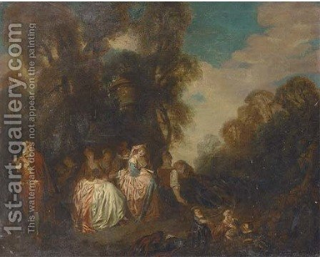 A fete champetre with elegant company listening to music by (after) Watteau, Jean Antoine - Reproduction Oil Painting