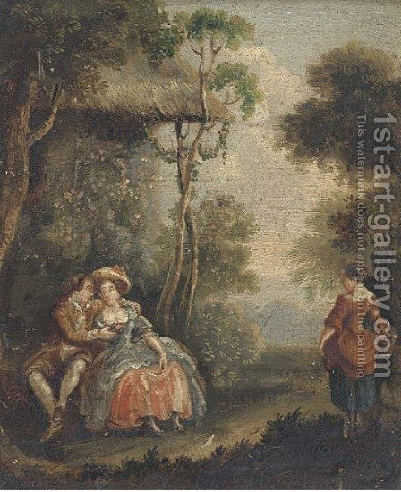 An amorous couple in a landscape by (after) Watteau, Jean Antoine - Reproduction Oil Painting