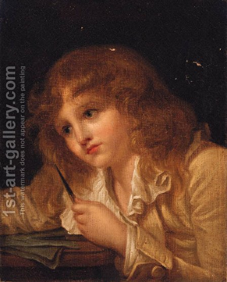 A boy seated at a desk by (after) Greuze, Jean Baptiste - Reproduction Oil Painting