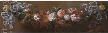 A swag of roses by (after) Jean-Baptiste Monnoyer - Reproduction Oil Painting