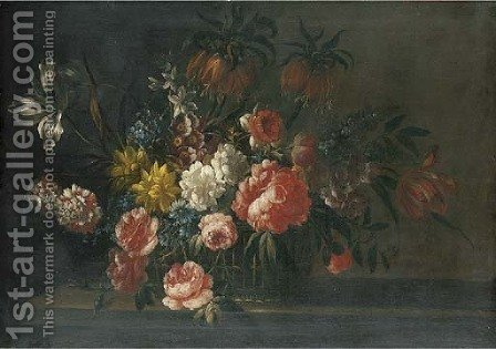 Roses, carnations, tulips and other flowers in a basket on a stone ledge by (after) Jean-Baptiste Monnoyer - Reproduction Oil Painting