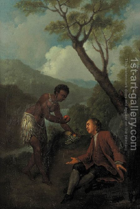A moor servant offering fruit to a gentleman seated by a tree in a mountainous landscape by (after) Jean-Baptiste Oudry - Reproduction Oil Painting
