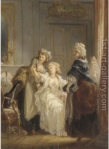 Three ladies in an elegant interior by (after) Jean-Frederic Schall - Reproduction Oil Painting