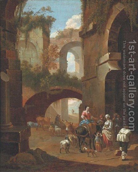An architectural capriccio with peasants amongst ruins by (after) Johan Heinrich Roos - Reproduction Oil Painting