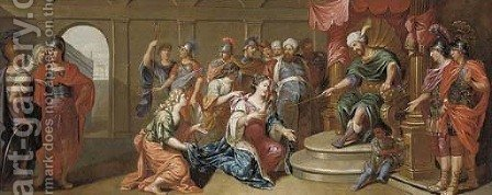 Esther before Ahasuerus by (after) Johan-Rudolf Byss - Reproduction Oil Painting