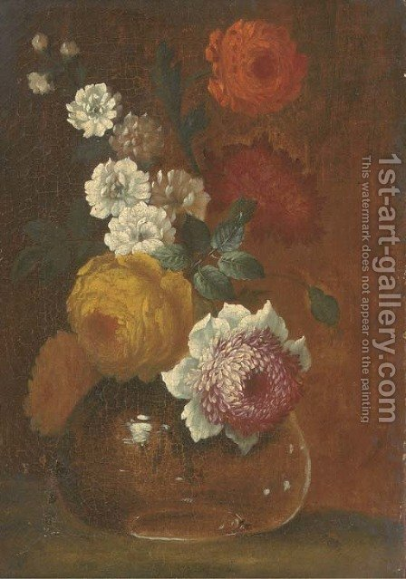 Peonies, chrysanthemums and other flowers in a glass vase on a table by (after) Johann Baptist Drechsler - Reproduction Oil Painting
