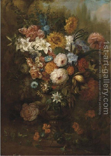 Roses, carnations, morning glory and other flowers in an urn on a ledge by (after) Johann Baptist Drechsler - Reproduction Oil Painting