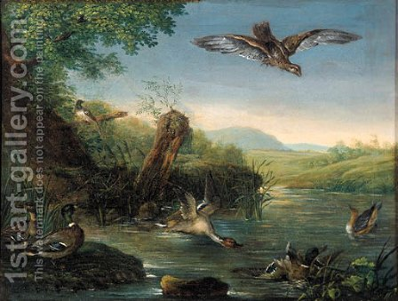 An eagle in flight watching ducks by a pool by (after) Johann Elias Ridinger Or Riedinger - Reproduction Oil Painting
