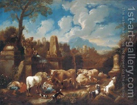 An Italianate landscape with a peasant family resting with cattle and sheep amongst ruins by (after) Johann Heinrich Roos - Reproduction Oil Painting