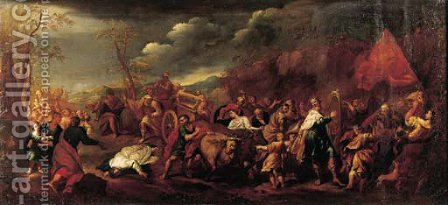 The triumph of King David by (after) Johann Heiss - Reproduction Oil Painting