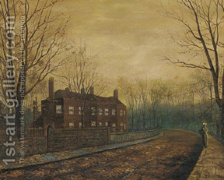 A solitary figure in a street, dusk by (after) John Atkinson Grimshaw - Reproduction Oil Painting