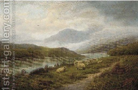 Sheep by the edge of a river in a Highland landscape by (after) John Morris - Reproduction Oil Painting