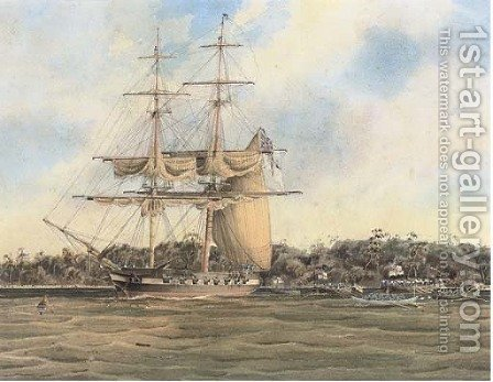 An English frigate lying at anchor off a tropical beach by (after) John The Younger Cleveley - Reproduction Oil Painting