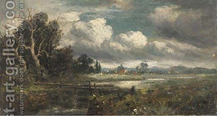 A lock before a riverside hamlet by (after) Constable, John - Reproduction Oil Painting