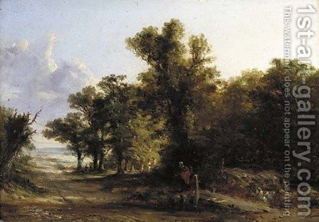 Figures crossing Ford Bridge on the Darenth by (after) Constable, John - Reproduction Oil Painting