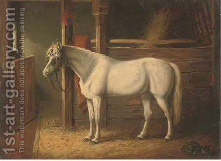 A grey stallion in a stable by (after) John Frederick Herring - Reproduction Oil Painting