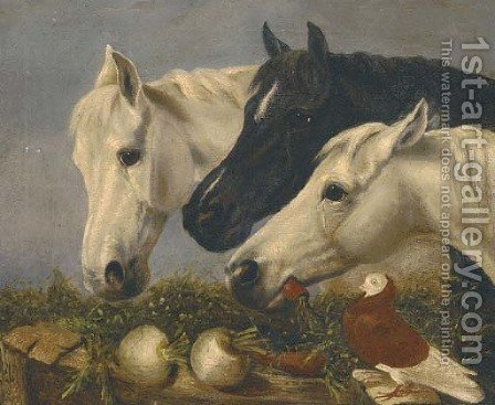 Three horses by (after) John Frederick Herring - Reproduction Oil Painting