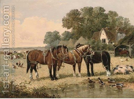 The farm pond by (after) John Frederick Jnr Herring - Reproduction Oil Painting