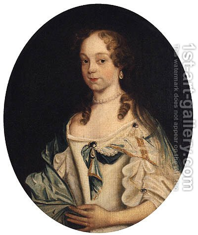 Portrait Of Mrs Boynton Wood by (after) Of John Michael Wright - Reproduction Oil Painting