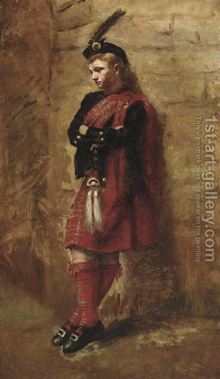 The pensive Highlander by (after) John Pettie - Reproduction Oil Painting