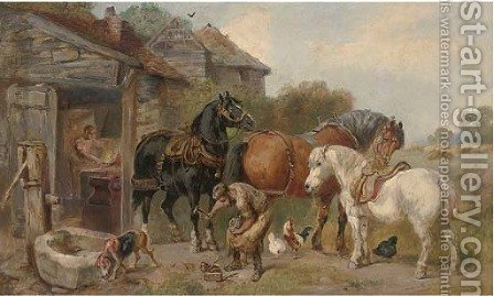 At the farriers by (after) John Sargeant Noble - Reproduction Oil Painting