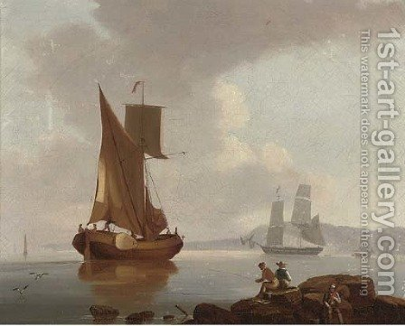A merchantman and a barge in a calm offshore, with fishermen on the rocks in the foreground by (after) John Thomas Serres - Reproduction Oil Painting