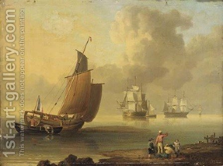 A French lugger and merchantmen in coastal waters by (after) John Ward Of Hull - Reproduction Oil Painting