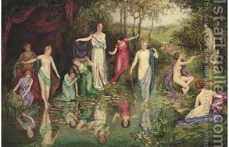 Bathing nymphs by (after) John William Waterhouse - Reproduction Oil Painting
