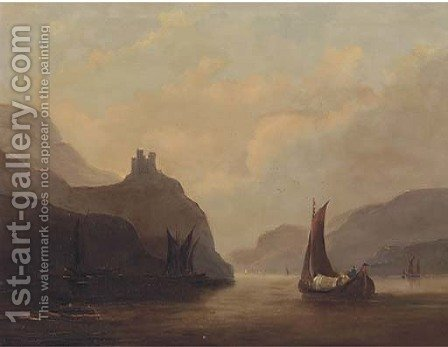 Vessels on a tranquil estuary by (after) John Wilson Carmichael - Reproduction Oil Painting