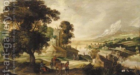 A river landscape with a horse and cart and other figures before a town by (after) Joos Or Josse De, The Younger Momper - Reproduction Oil Painting