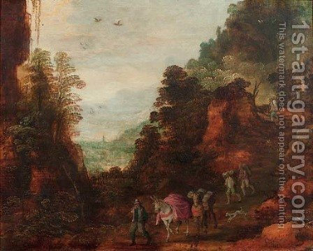 A rocky wooded landscape with travellers and mules on a track by (after) Joos Or Josse De, The Younger Momper - Reproduction Oil Painting