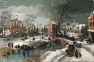 A village in winter by (after) Joos Or Josse De, The Younger Momper - Reproduction Oil Painting