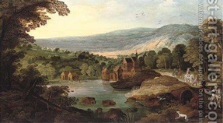 A wooded landscape with travellers on a road, a lake and a town nearby by (after) Joos Or Josse De, The Younger Momper - Reproduction Oil Painting