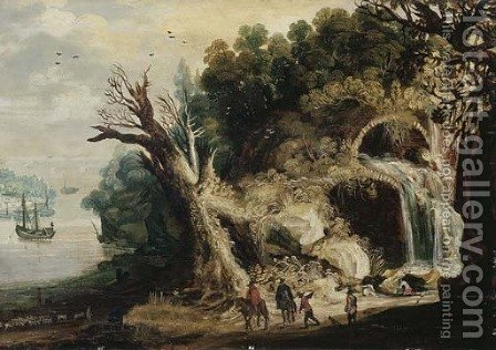 A mountainous river landscape with travellers on a track by a waterfall by (after) Joos Or Josse De, The Younger Momper - Reproduction Oil Painting