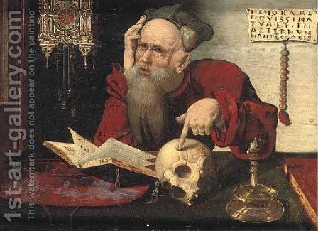 Saint Jerome in his study by (after) Cleve, Joos van - Reproduction Oil Painting
