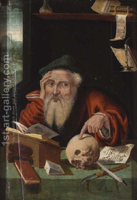 Saint Jerome in his study 2 by (after) Cleve, Joos van - Reproduction Oil Painting