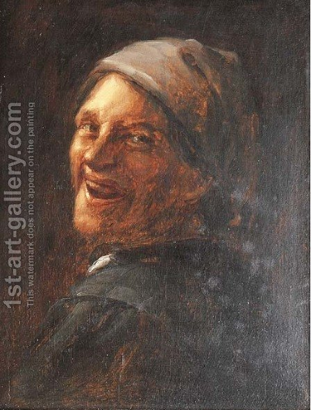 A man laughing, bust-length by (after) Joos Van Craesbeeck - Reproduction Oil Painting