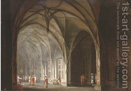 Cavaliers conversing in a gothic atrium; and A prisoner in a dungeon by (after) Josef Platzer - Reproduction Oil Painting