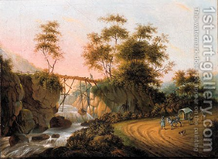Peasants returning from a market on a road by a waterfall in an Italianate landscape by (after) Joseph Augustus Knip - Reproduction Oil Painting