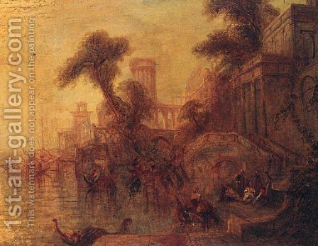 A Capriccio with Figures on a Quay by (after) Turner, William - Reproduction Oil Painting