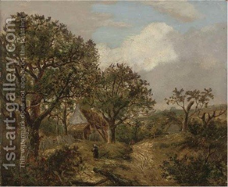 Figures on a wooded path before a cottage by (after) Joseph Thors - Reproduction Oil Painting